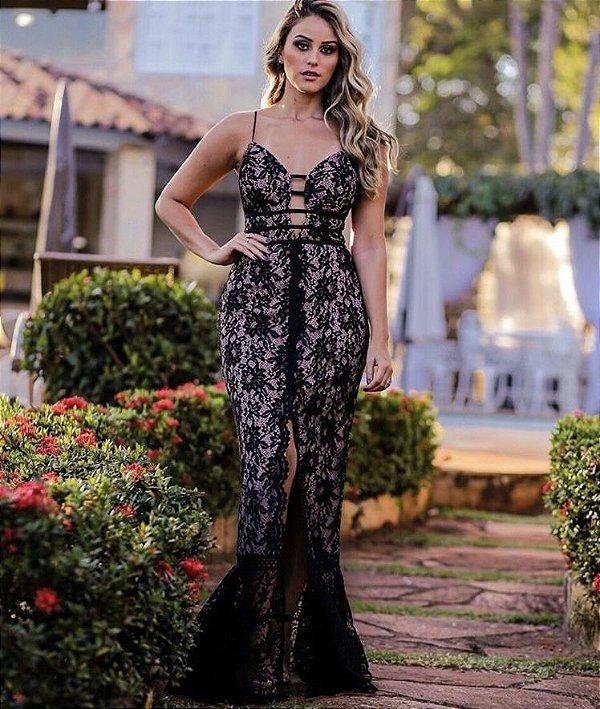7ee2332e5 Vestido Longo Renda Betriz - JJ Modas