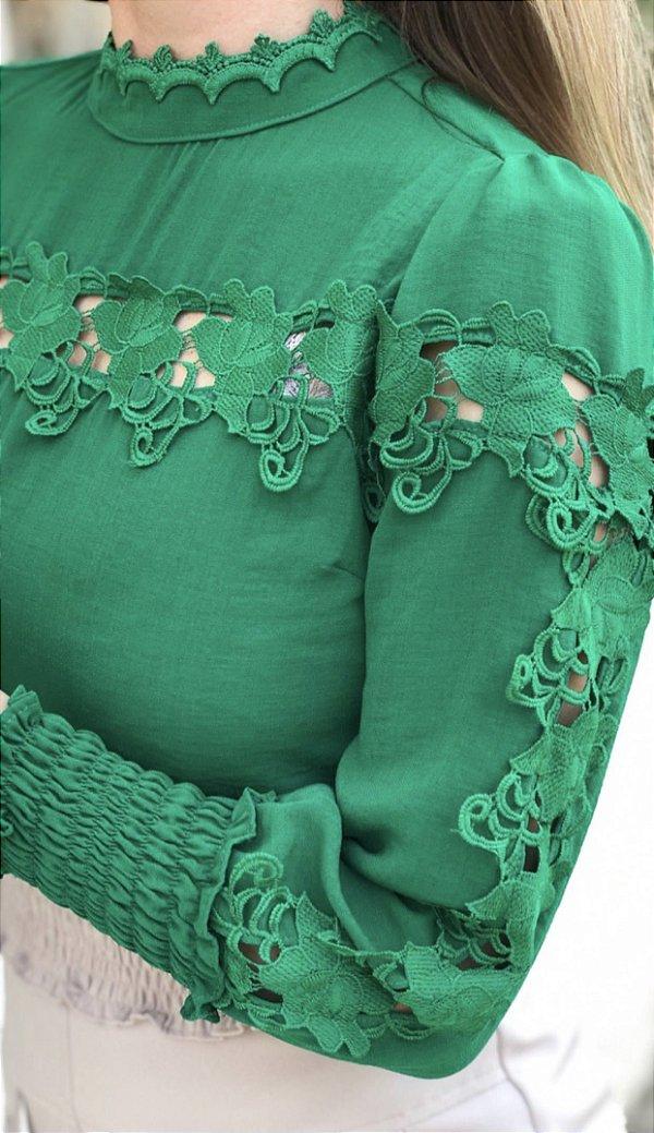 Camisa Verde renda