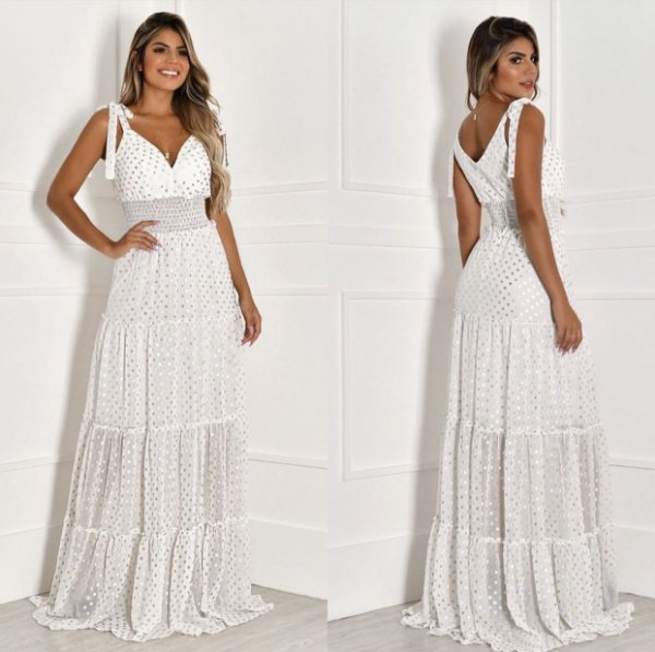 Vestido longo Poá branco