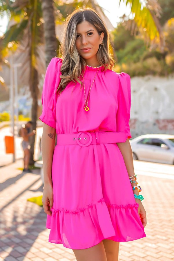 Vestido Pink com cinto