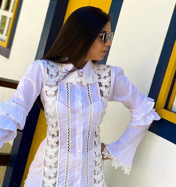 Camisa tricoline borboletas