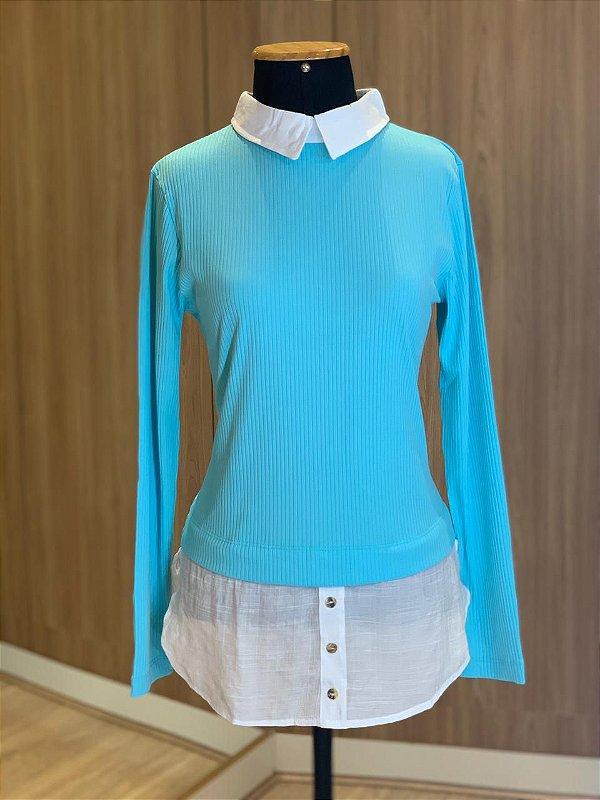 Blusa Sobreposição Azul