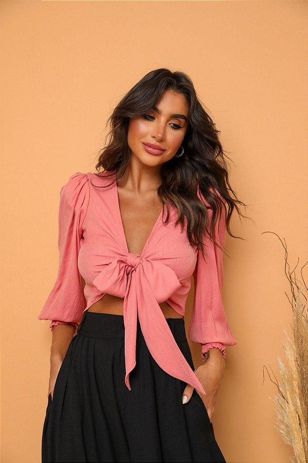 Cropped camisa laço Rosa