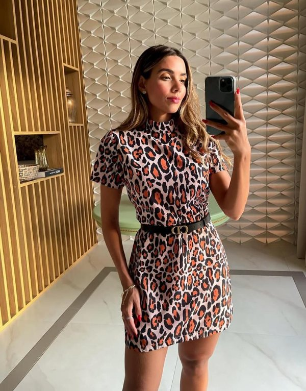 Vestido Crepe Gloss Animal Print