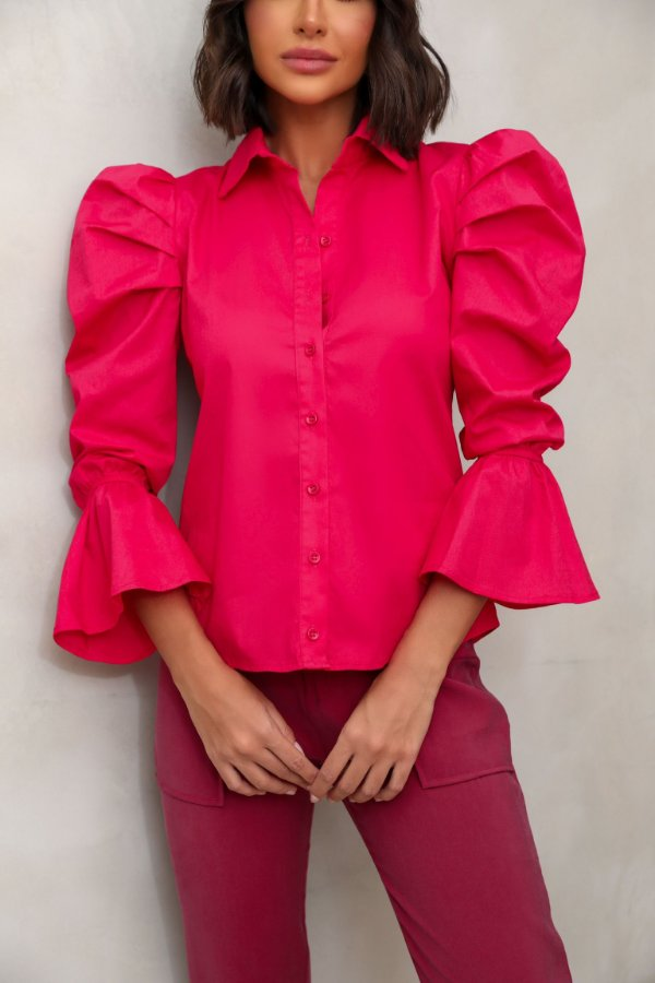 Camisa Tricoline Rosa Pink