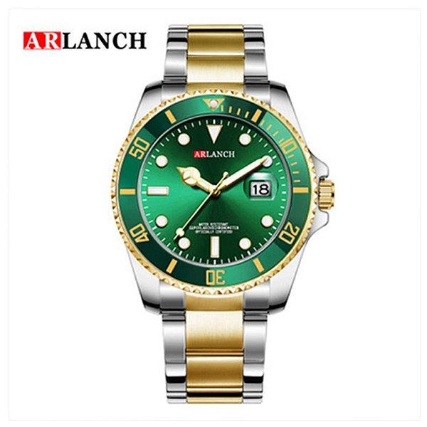 Relógio Masculino Dourado Verde Prata Campeão Arlanch 305 VE