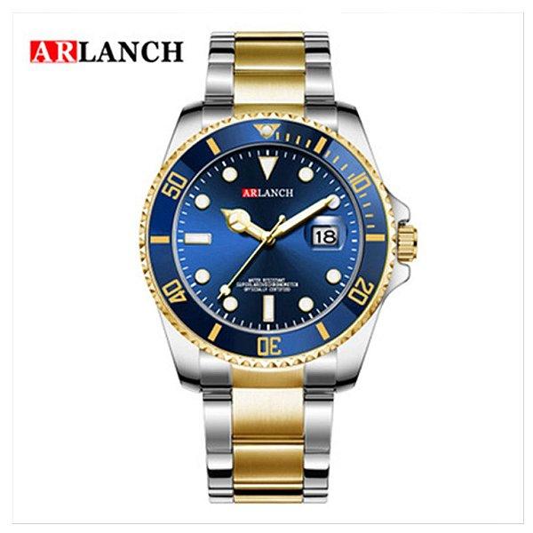 Relógio Masculino Dourado Azul Prata Campeão Arlanch 305 AZ