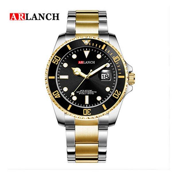 Relógio Masculino Dourado Preto Prata Campeão Arlanch 305 PR