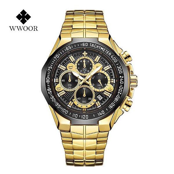 Relógio Masculino Dourado Preto Campeão Militar WWOOR PR