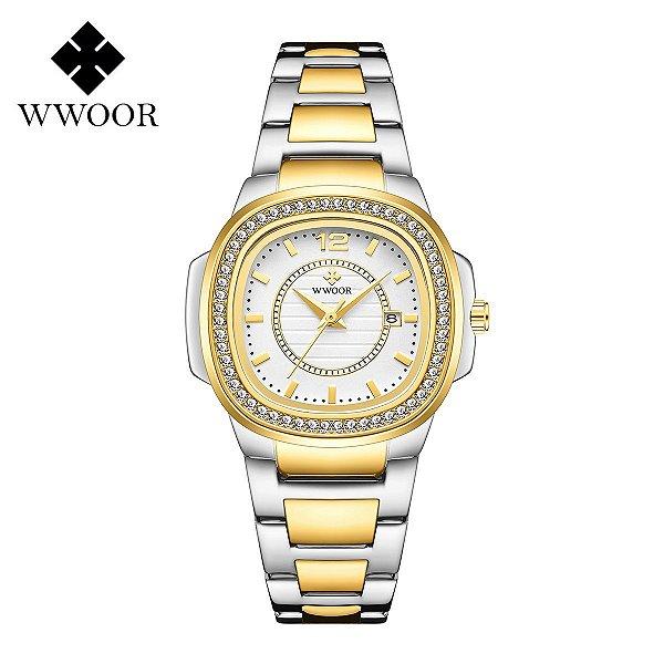 Relógio feminino prata dourado pequeno quadrado WWOOR 8874PD