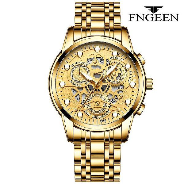 Relógio Masculino Esqueleto Dourado Prata Campeão FNGEEN 4088
