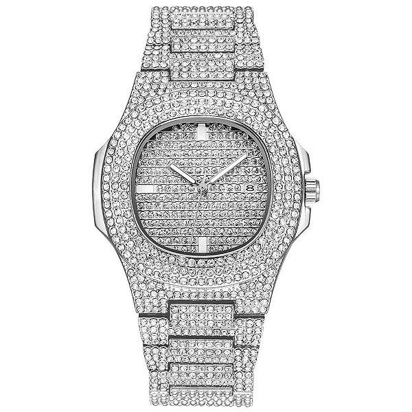 relógio cravejado masculino feminino prata hip hop Genebra