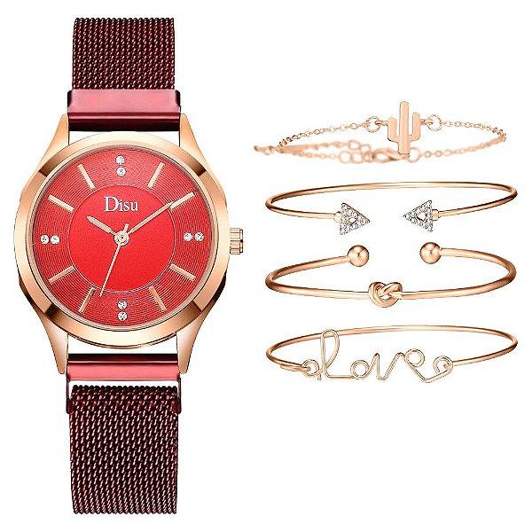 Kit relogio bracelet feminino dourado vermelho cravejado Disu
