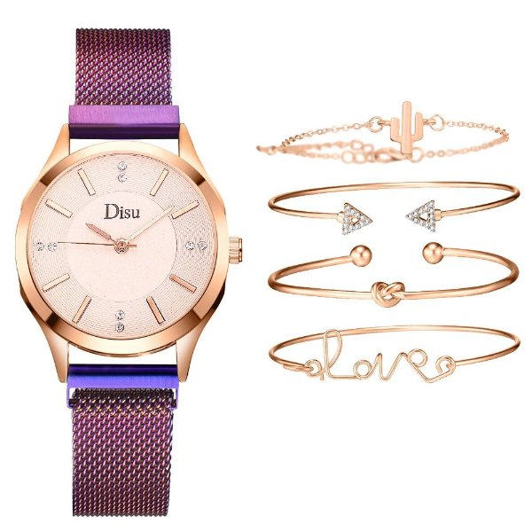 Kit relogio bracelet feminino dourado roxo cravejado Disu