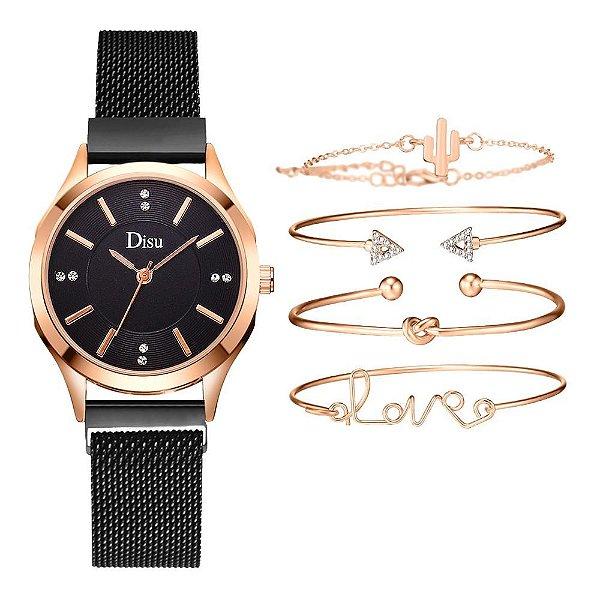 Kit relógio bracelete feminino dourado preto cravejado Disu