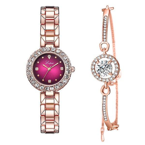 Kit relógio bracelete feminino dourado rosa cravejado Lvpai