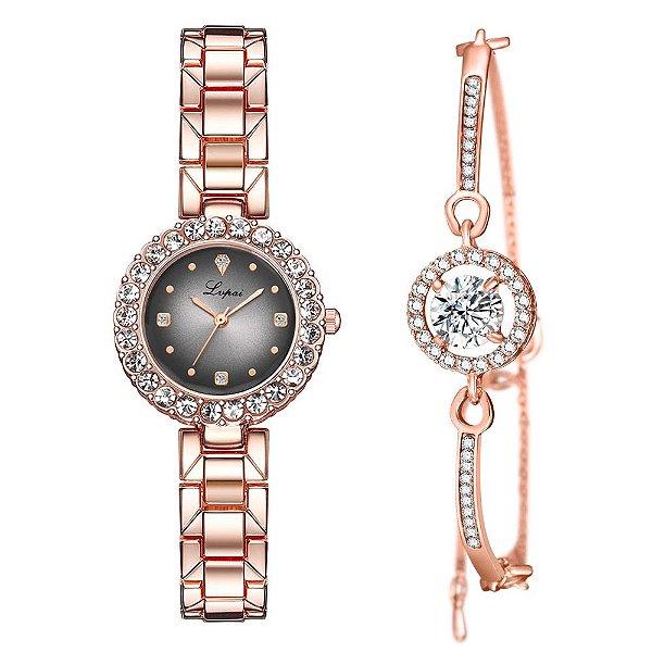 Kit relógio bracelete feminino dourado prata cravejado Lvpai