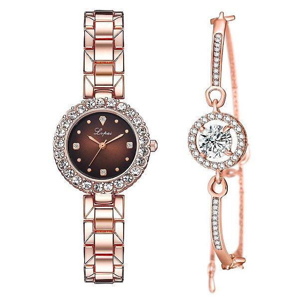 Kit relógio bracelet feminino dourado marro cravejado Lupai