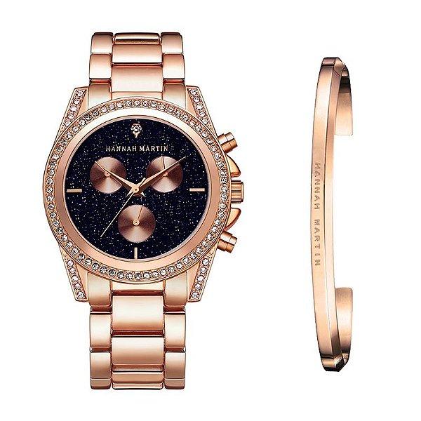 kit relógio bracelete feminino dourado preto Hannah Martin T