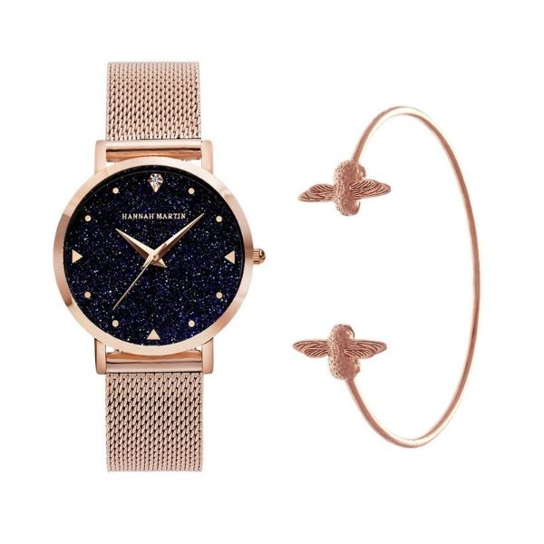 kit relógio bracelete feminino dourado preto Hannah Martin R