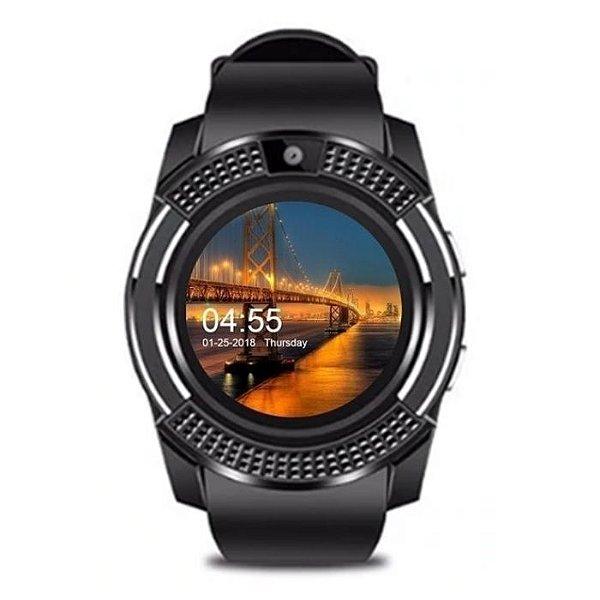 relógio inteligente smartwatch masculi redondo preto v8 plus