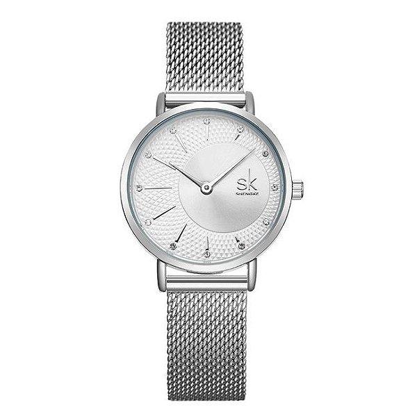 relógio feminino prata social esportivo SHENGKE K0093