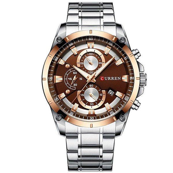 relógio masculino dourado prata pulseira aço CURREN 8360