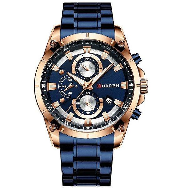 relógio masculino dourado azul pulseira aço CURREN 8360