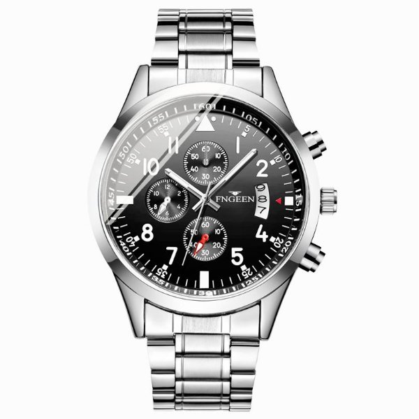 relógio masculino prata preto social pulseira aço FNGEEN G5
