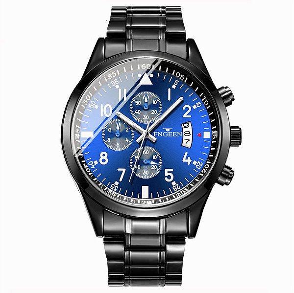 relógio masculino preto azul social pulseira aço FNGEEN G3
