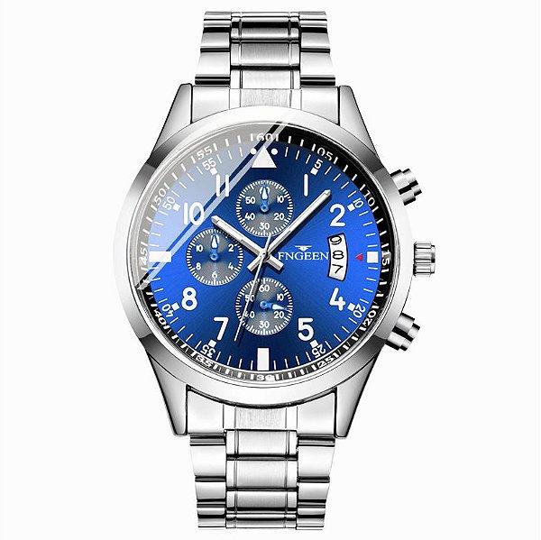 relógio masculino prata azul social pulseira aço FNGEEN G2