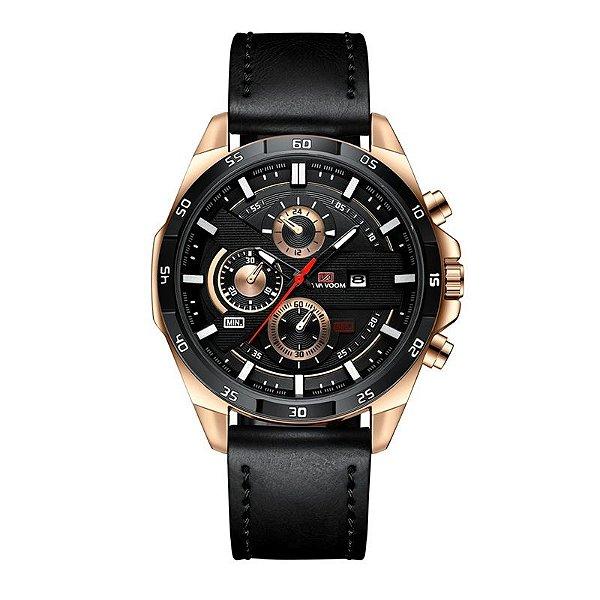 relógio masculino preto dourado esportivo VA VA VOOM 216PR1