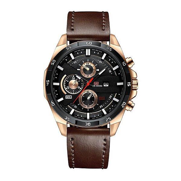 relógio masculino preto dourado esportivo VA VA VOOM 216MA1