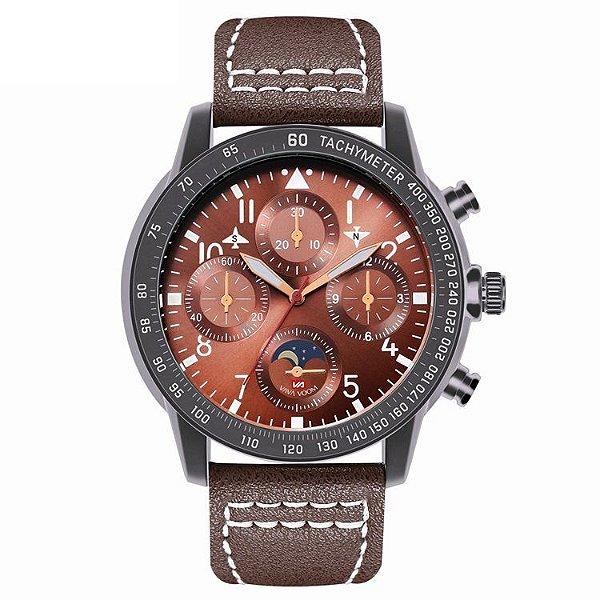 relógio masculino preto esportivo couro  VA VA VOOM 209MM