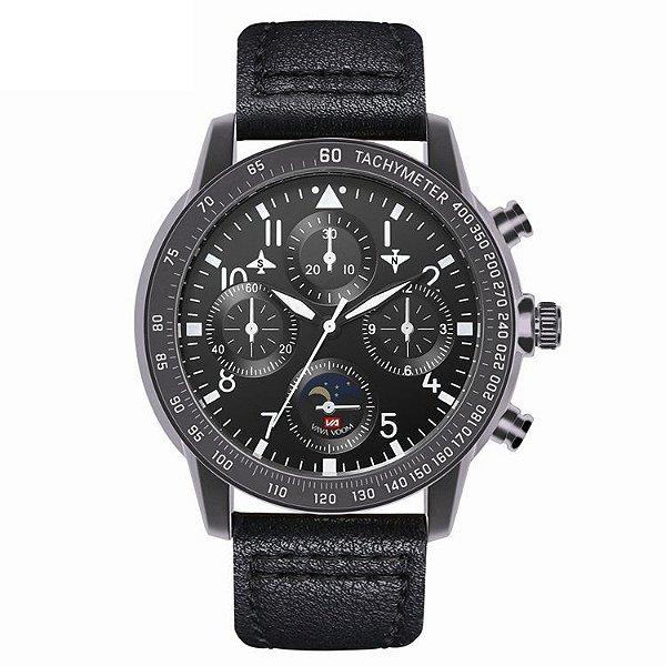 relógio masculino preto esportivo couro  VA VA VOOM 209PP