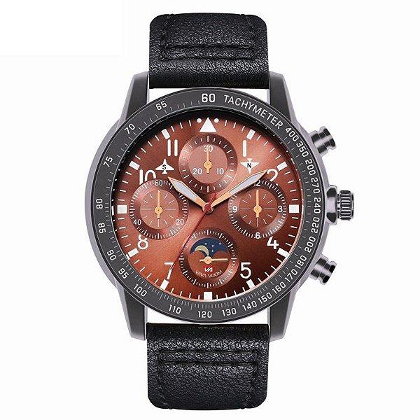 relógio masculino preto esportivo couro  VA VA VOOM 209PM