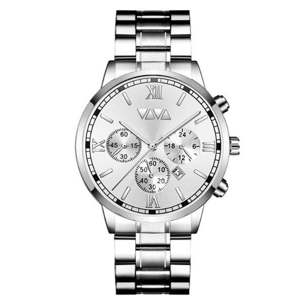 relógio masculino prata branco social esportivo VV VOOM PBR1