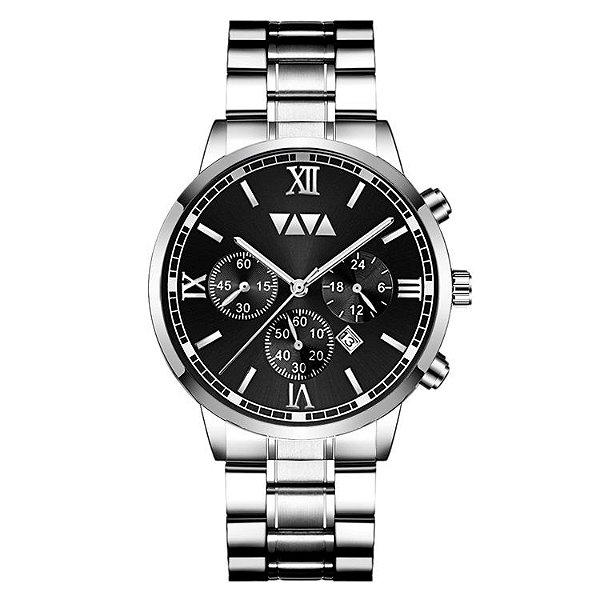 relógio masculino prata preto social esportivo VV VOOM PRA1