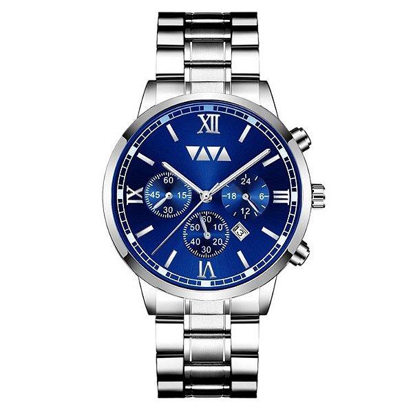 relógio masculino prata azul social esportivo VV VOOM AZ1