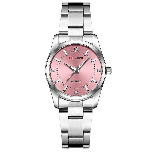 relógio feminino prata rosa pequeno analógico aço Arlanch