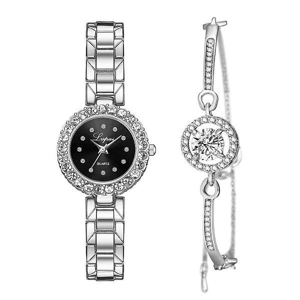Kit relógio bracelete feminino prata preto cravejado Lvpai