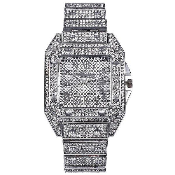 Relógio masculino prata cravejado ice hip hop zircônia Y&D
