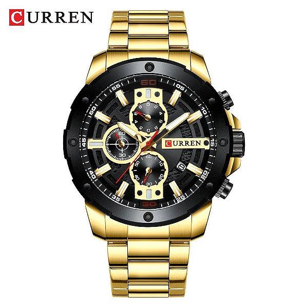 Relógio Masculino Dourado Preto Esportivo Militar Curren 8336