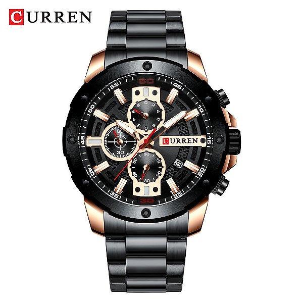 Relógio Masculino Preto Dourado  Esportivo Militar Curren 8336