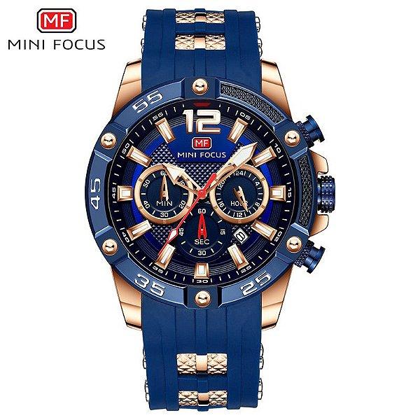 Relógio Masculino Dourado Azul Esportivo Militar Mini Focus 349