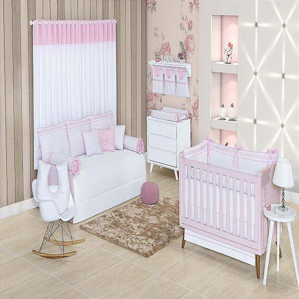 Quarto de Bebê 200 Fios 16 Peças Bless Rosa