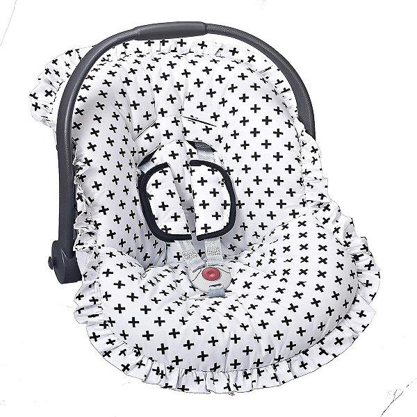 Capa para bebê Conforto e Protetor de Cinto Cruzinha Preta