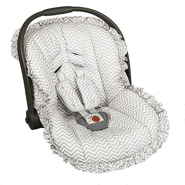 Capa para bebê Conforto e Protetor de Cinto Chevron Cinza