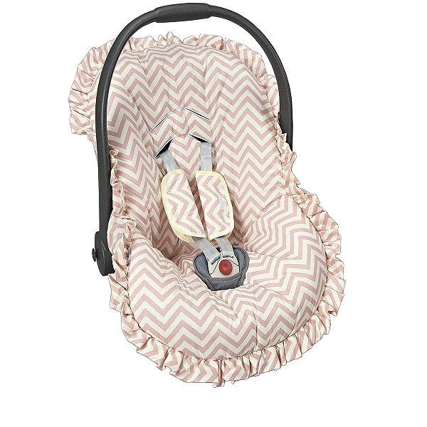 Capa para bebê Conforto e Protetor de Cinto Chevron Rosê