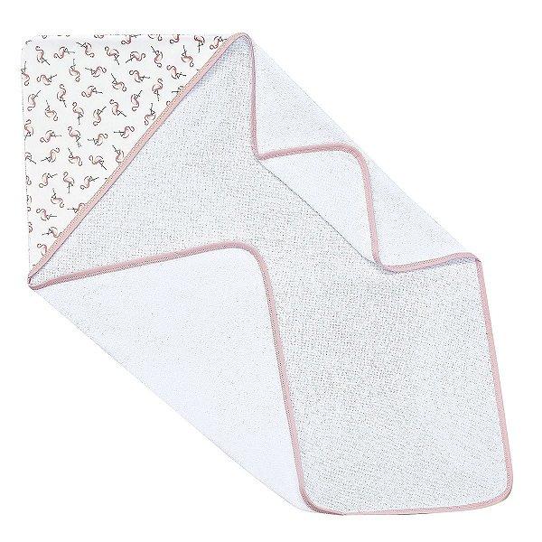 Toalha de Banho para Bebê Com Capuz Estampado Flamingo